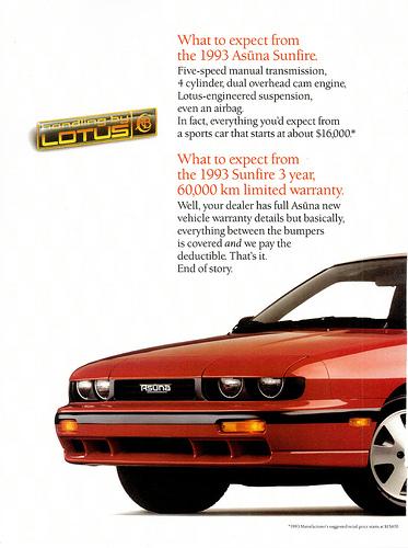 L'ingénierie Lotus des suspensions est mise en avant sur cette publicité