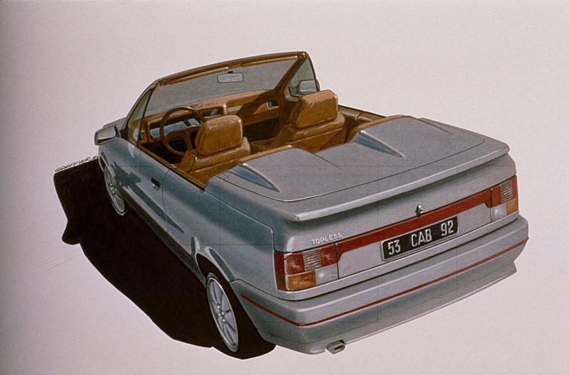 """Le dessin de la R19 Cabriolet, appelée """"Topless"""" en interne."""