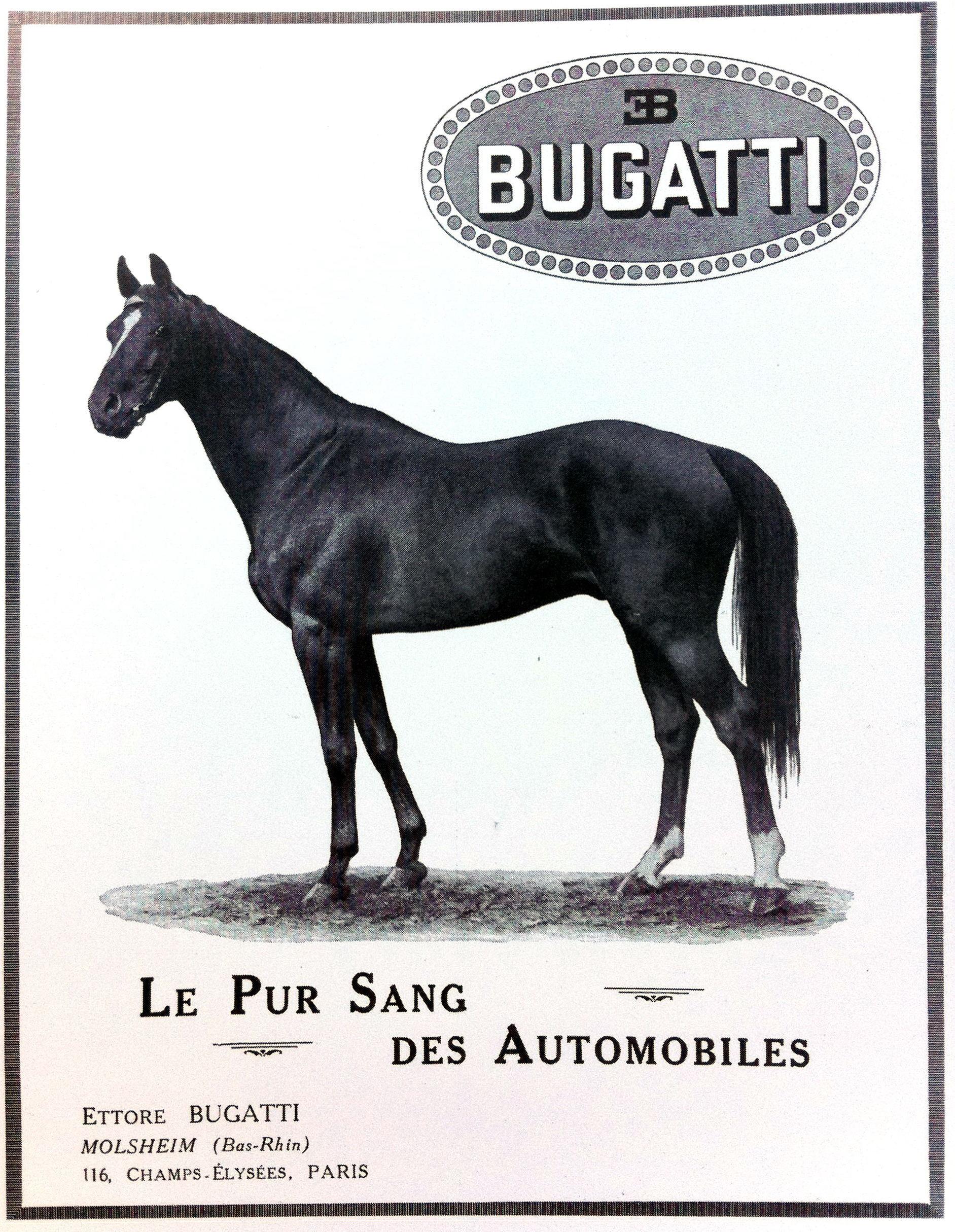 """Une publicité Bugatti de 1923 introduisant la notion de """"Pur Sang"""""""
