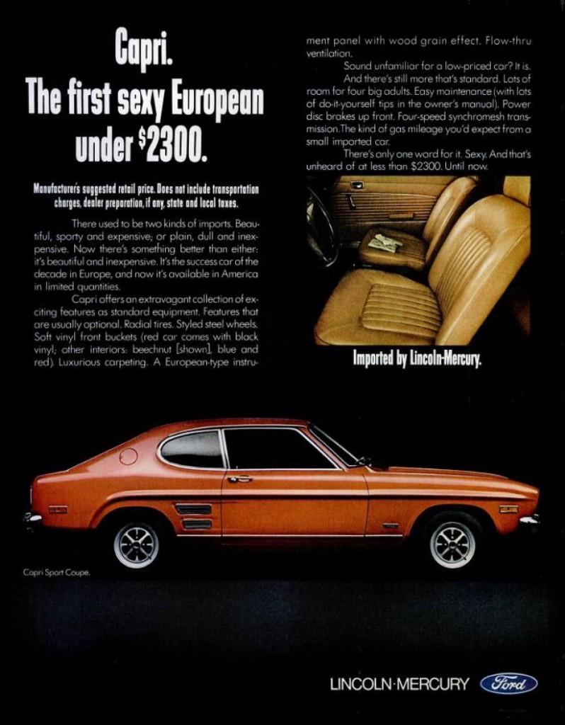 La Capri sera aussi vendue sous la marque Mercury aux Etats-Unis !