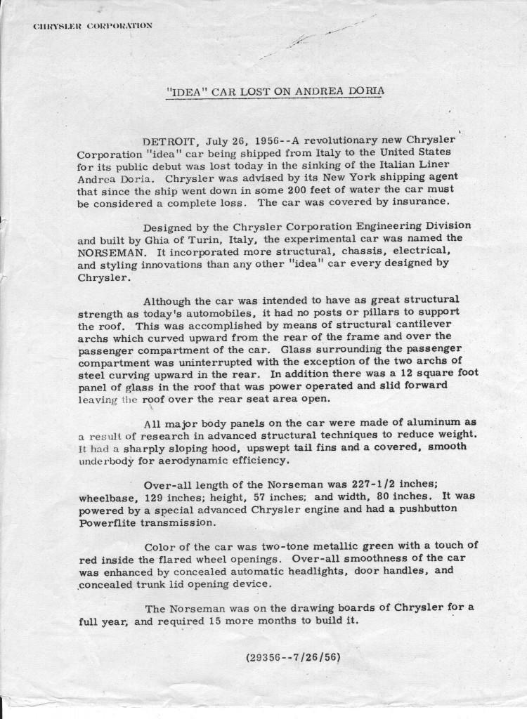 Le communiqué de presse de Chrysler (image: carsandracingstuff.com)