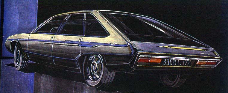 Sketch de la Renault 30, dessinée par Gaston Juchet !