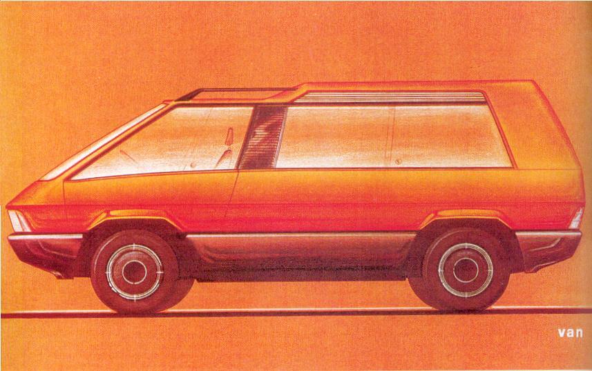 Le premier dessin de Matra en 1978, qui rappelle lui aussi les traits du Supervan de Chrysler !