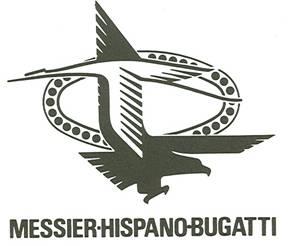 Le logo de la Messier-Hispano-Bugatti mêle l'aigle de Messier, la Cigogne d'Hispano, et l'ovale de Bugatti