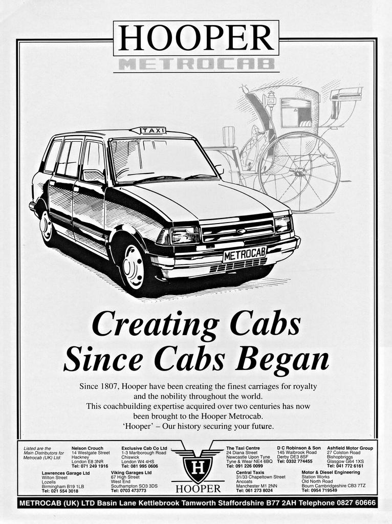 En 1991, le carrossier Hooper rachète Metrocab