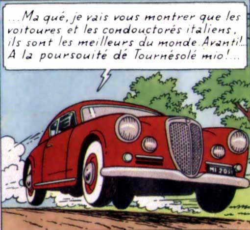 """En haut, la Lancia Aurelia B20, et en bas le cabriolet Bordure de """"l'affaire Tournesol"""""""