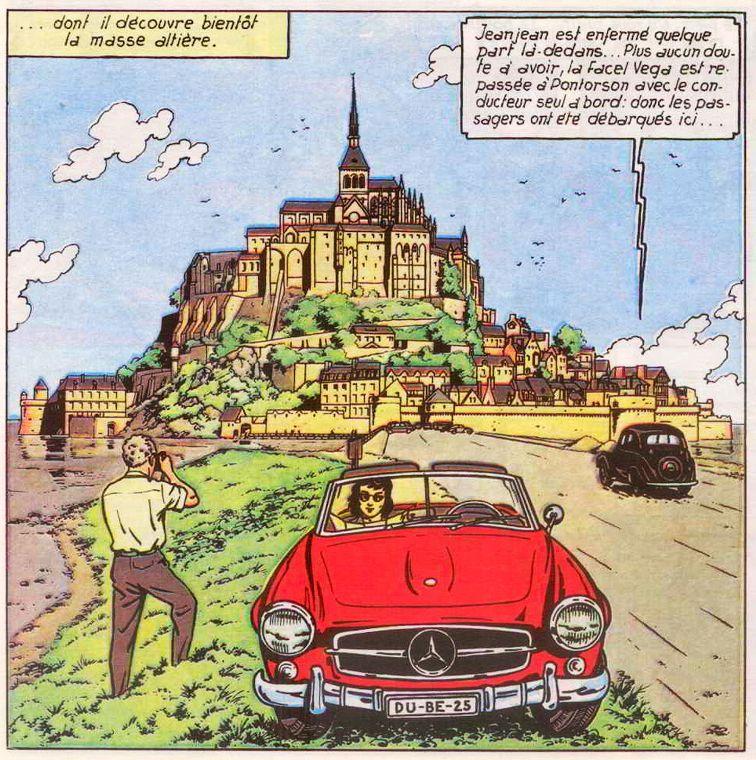 """Les décors servent aussi à mettre en scène d'autres automobiles, comme ici dans """"L'Ouragan de Feu"""""""