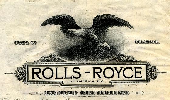 L'emprunt Brewster à 7 % devint après le rachat un emprunt Rolls Royce of America